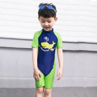 新款儿童连体泳衣 中大童宝宝游泳衣男童连体泳裤 小孩速干温泉冲浪服泳装