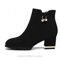短靴女2019冬季新款中筒靴女鞋女靴子粗跟马丁靴女鞋加绒女士棉鞋 黑色