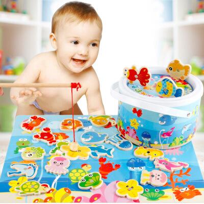 【每满100减50】儿童木质磁性钓鱼玩具积木宝宝磁性钓鱼男孩女孩3-6岁早教玩具新年礼物 满100减50 满200减100 多买多减 上不封顶