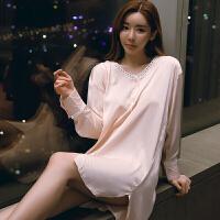 2018新款白色衬衫睡衣女冬性感长款夏薄款春秋蕾丝冰丝睡裙可外穿情调衣人 均码