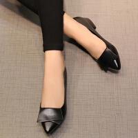 2019新款单鞋女平底鞋女低跟工作鞋女士软皮鞋百搭浅口四季工作鞋
