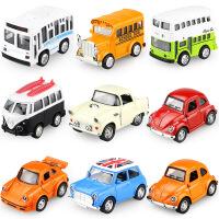 Q版合金回力儿童小汽车套装 迷你玩具车甲壳虫双层巴士车模型