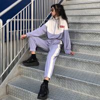 休闲运动套装女春秋2019新款韩版宽松卫衣+九分裤洋气两件套学生