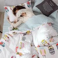 卡通床上用品四件套全棉纯棉被套床单三件套ins风网红款床笠被单4 2.0m床 床单款 四件套【适合2.2x2.4m被