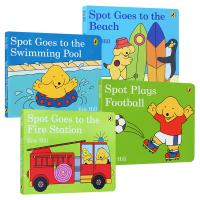 小玻系列4册 Spot 英文原版 去沙滩 踢足球 去消防站 去游泳池 儿童英语启蒙早教纸板书 亲子阅读图画故事书 英文版