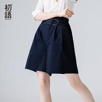 初语宽松大码休闲裤高腰短裤女2017夏 新款OL风气质腰带百搭裤裙