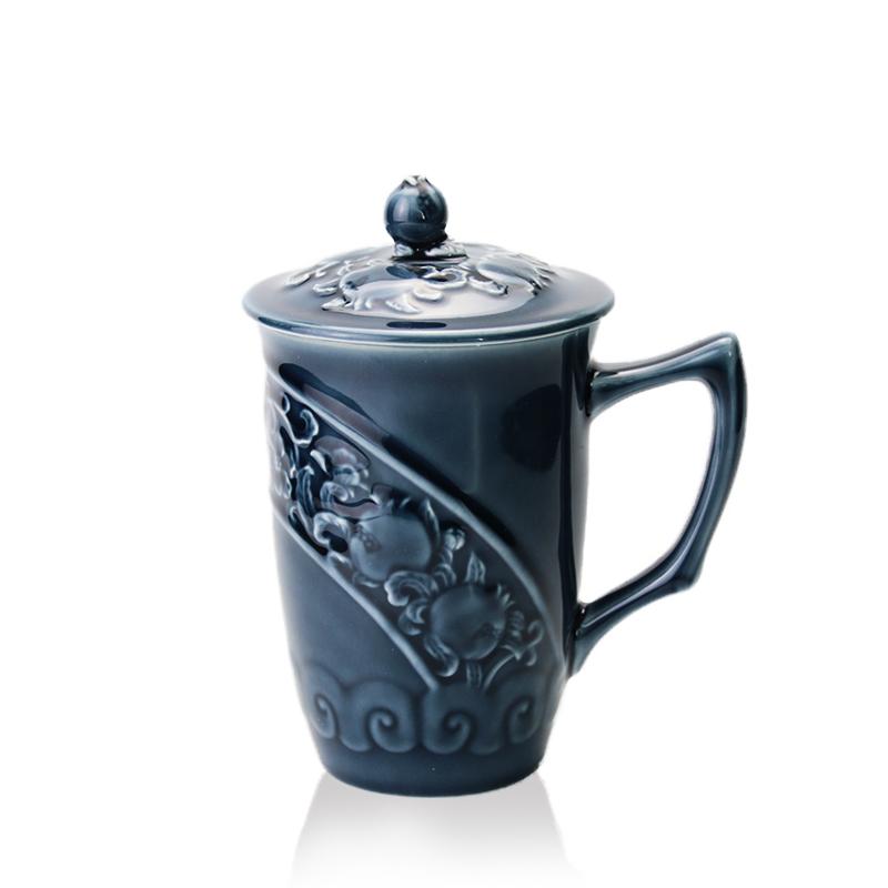 乾唐轩活瓷 石榴高杯单层430ml 办公泡茶带盖陶瓷水杯子礼品