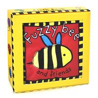 英文原版Fuzzy Bee and Friends 蜜蜂和朋友们 动物认知 触摸书 触感启发认知 布书 浴室洗澡书 宝