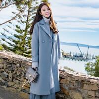 班图诗妮 大衣外套女冬季中长款韩版2018新款呢子学院风茧型女装