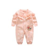 婴儿连体衣春秋款新生儿衣服婴儿纯棉哈衣0-6个月女宝连体衣爬服 花篮 粉色