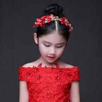 儿童礼服配饰女宝宝公主头饰女孩酒红色皇冠精美饰品发饰花瓣头箍