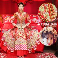 №【2019新款】冬天穿的新娘龙凤褂古装中式婚纱结婚嫁衣礼服秀和服敬酒服