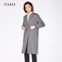 【3折到手价195元】Amii[极简主义]轻松上街 单排扣条纹抽绳风衣 秋新棒球领外套
