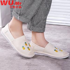 乌龟先森 帆布鞋 女士春季新款渔夫鞋魔术贴厚底松糕底韩版休闲潮女式小白鞋子