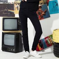 美特斯邦威牛仔裤女2016秋装新款时尚双扣高腰紧身牛仔长裤246620 S