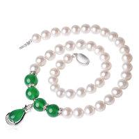 珍珠项链正圆形天强光然均匀淡水白珍珠项链送妈妈长辈银吊坠礼物
