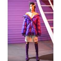 亮面女紫色ins面包服蓬蓬中长款冬装新款棉衣学生厚棉袄