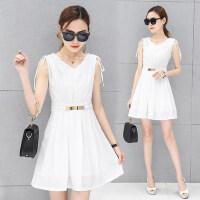 新款女装无袖V领时尚中长款连衣裙 韩版收腰显瘦修身OL职业A字裙子白色