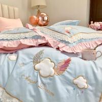 韩版少女心天使翅膀云朵刺绣花全棉60支长绒棉四件套床上被套床单 天使之吻