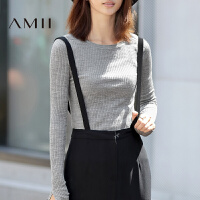 【1件8折/2件6折】AMII[极简主义]秋冬新款百搭修身显瘦长袖薄款圆领套头女毛衣