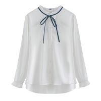 雪纺衬衫女长袖2018秋季新款宽松韩版学生百搭韩范小清新白色衬衣