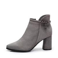 camel骆驼女鞋 秋冬新款 水钻吊饰粗跟尖头短靴女 简约高跟靴子