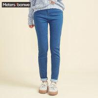 美特斯邦威牛仔裤女士秋冬季高腰紧身显瘦长裤子休闲学生韩版潮
