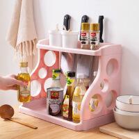置物架 双层厨房置物架调味料收纳架落地塑料刀架调料用品置物架