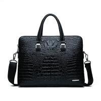 商务手提公文包男包时尚新款商务鳄鱼纹手提包单肩公文电脑礼品包男士包袋 潮