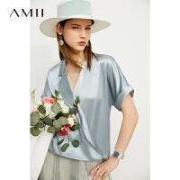 【2件3折263元,再叠90/70/30元礼券】Amii极简设计感醋酸短袖衬衫女2021夏季新款不对称衬衣蓝色上衣