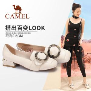 Camel/骆驼女鞋 2018春季新款 休闲舒适扣饰方跟浅口单鞋女