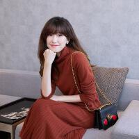 过年穿的美女穿的2018新款韩版高领羊绒衫女套头宽松短款纯色堆堆领羊绒毛衣女