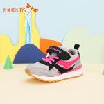 【1件2折后:44.6元】红蜻蜓拼接透气网布撞色个性简约图案舒适魔术贴女童儿童运动鞋