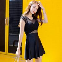 性感泳衣女士大码连体裙式网眼温泉韩国显瘦遮肚大胸钢托聚拢泳装 黑色