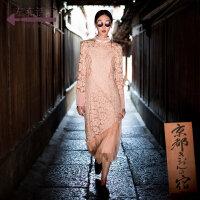 生活在左2018新款秋季女士小香风拼真丝蕾丝长袖连衣裙配吊带长裙
