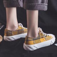 ins帆布鞋女学生韩版原宿风2019夏季新款鞋子女百搭平底透气板鞋 米黄 B