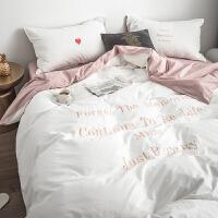 北欧风床上四件套全棉纯棉ins网红裸睡水洗棉被套床笠2米床套被单 早安白 l水洗棉