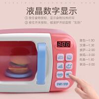 儿童过家家声光计时仿真微波炉餐具网红做饭厨具真实玩具彩泥套装