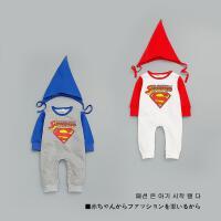 BY 2017春款超人连体哈衣两件套 宝宝毛圈外出爬服婴儿衣服