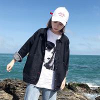 牛仔外套女春季2019潮韩版学生宽松秋装薄款上衣黑色工装夹克 黑色