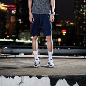 李宁运动短裤男士新款韦德系列针织短装夏季运动裤AKSM187