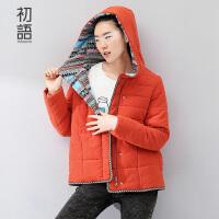 【品牌盛典 2件5折】初语冬装棉服加厚修身显瘦连帽棉妖棉衣短款外套女8530841902