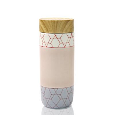 乾唐轩活瓷杯永恒若水木纹盖随身杯创意陶瓷随手茶水杯子男女礼品