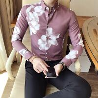 秋季男装修身长袖衬衫发型师韩版个性印花衬衣男士休闲百搭衬衣潮