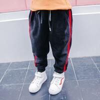 冬装男童金丝绒裤子童裤儿童裤宝宝织带裤运动裤