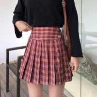 格子半身裙女春季2019新款韩版复古高腰百褶裙显瘦百搭a字裙短裙