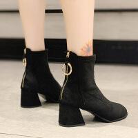 马丁靴女英伦粗跟中跟短靴子时尚百搭ins潮网红瘦瘦靴女春秋单靴 黑色