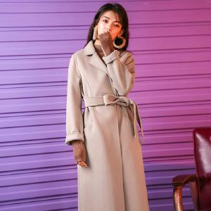 呢子大衣中长款韩版秋装女2018新款小个宽松双面尼过膝毛呢外套冬