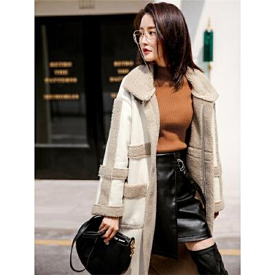 仿皮草外套女2018新款冬季中长款过膝皮毛一体拼接加厚羊羔毛大衣