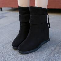 2018冬季新款ins短靴女韩版内增高坡跟马丁靴学生绒面百搭雪地靴